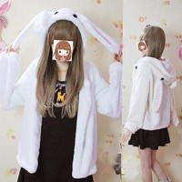 Cute kawaii bunny ear hooded coat