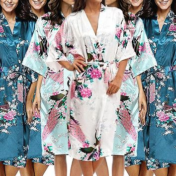 Bridesmaid Robe Set of 8, Floral, Womens Sizes 2-18, Mid Length