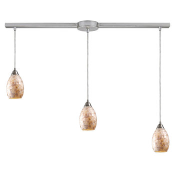 10141/3L Capri 3 Light Pendant In Satin Nickel And Capiz Shell - Free Shipping!