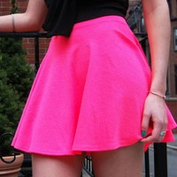 Beyond Pink Skirt – Hot Pink High Waist Skater Skirt