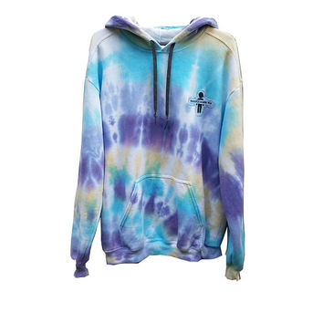 SALE Ocean Tie Dye Hoodie Sweatshirt Adult Large Women's Men's Boy's Girl's Tumblr Street Wear Casual Wear Water, Blue, Sweats, Warm