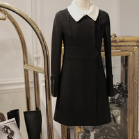 Wool and cashmere coat with fleece peter pan collar