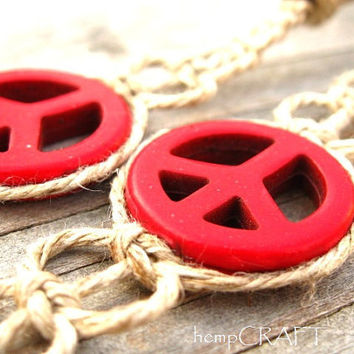 Hemp Barefoot Sandals Red Peace Signs Barefoot by hempCRAFT
