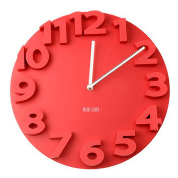 Creative Round Simple 3D Digital Wall Clock   red