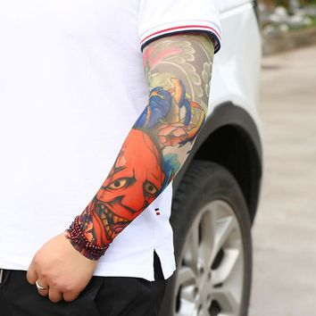 3D Printed Summer Man Trendy Fake Tattoo Elastic UV Protection Cool Ghost Arm Warmers Sun-proof Unisex Tattoo Sleeve