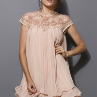 Beads Embellished Pleated Dolly Dress in Nude Pink Pink Free