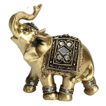 KiWarm Lucky Feng Shui Elegant Elephant Trunk Statue Lucky Wealth Figurine Crafts Ornaments for Home Office Desktop Decor Gift
