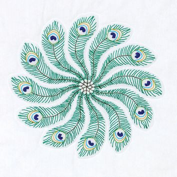 "Peacock Feathers Jack Dempsey Stamped White Quilt Blocks 18""X18"" 6/Pkg"