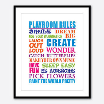 Playroom Rules - Kid's Wall Art - Typography Art Print - 8 x 10 print -  Kid's Decor - word art - chalkboard or your choice of colors