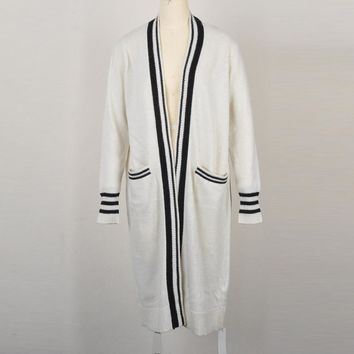 2018 Autumn Long Sleeve Striped Wool Long Cardigans Coat Female Computer Knitted Bow Collar Office Lady Sweater  163241
