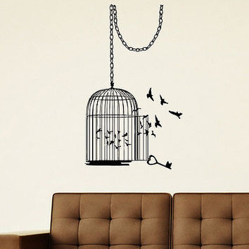WALL DECAL VINYL STICKER ANIMAL BIRD CAGE BIRDCAGE DECOR SB571