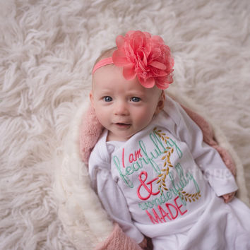 Newborn Baby Girl Gown Embroidered with I Am Fearfully & Wonderfully Made -- Includes Floral Headband-- baby girl coming home outfit