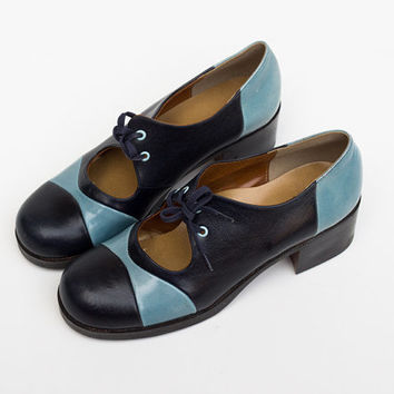 70s Shoes // Vintage Shoes // Black and Blue High Heels // Colorblock Mary Jane Shoes - Size 37 / 4 / 6