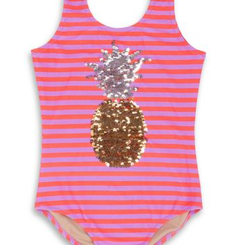 2 Way Sequin Pineapple 1 Piece Girls Swimsuit