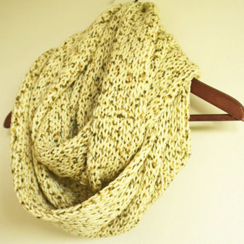 ivory oatmeal chunky infinity scarf wool scarf loop circle scarf gift ideas woman scarves birthday gifts