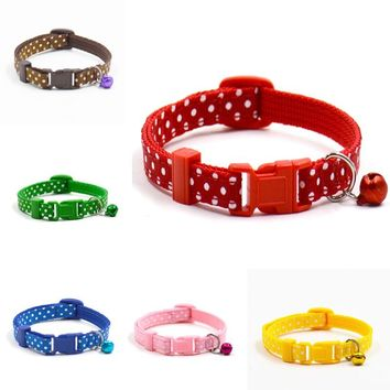 1Pc Adjustable Polka Dot Cat Collar With Bell In 6 Colors