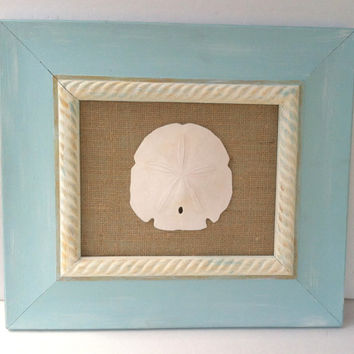 Beach Nautical Art Sand Dollar Burlap Cottage Chic Beach Nautical Coastal Home Decor Shabby Chic Rustic Home Decor