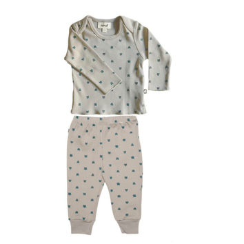 Grey Cat Print Baby Outfit- Organic Cotton