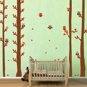 kcik1687 Full Color Wall decal bedroom children's Custom Baby Nursery tree nusery decal tree forest owl birds