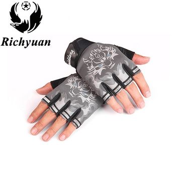 New Sport Gloves for Kids Semi-finger Wolf Print Glove Children Mittens Anti-slip Boys Girl Fingerless Gloves for 6-12 Years Kid
