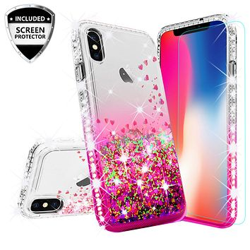 Apple iPhone XS Max Case Liquid Glitter Phone Case Waterfall Floating Quicksand Bling Sparkle Cute Protective Girls Women Cover for iPhone XS Max - Hot Pink