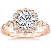 14K Rose Gold Cadenza Halo Diamond Ring