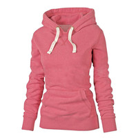 Long Sleeve Pocket Solid Cotton Design Pullovers Hoodies For Women Outerwear