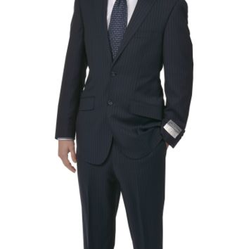 "Men's Made In Italy Suit, Navy Pinstripe ""Naldini"" Collection - Suits"