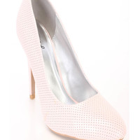 Pink Perforated Cute High Heel Pumps Patent Faux Leather