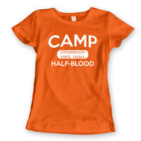 CAMP HALF-BLOOD - funny humorous book cool half blood halfblood new york percy jackson hip demigod new tee shirt - Womens Orange T-shirt 950