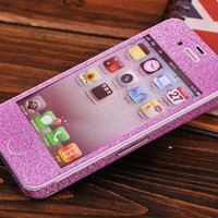 Cool Sparking Pink Nice Shiny Rhinestone Fashion Sticker IPhone 5