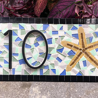 Blue and Green Mosaic Address Sign, House Numbers, Beach House, Address Plaque with Starfish