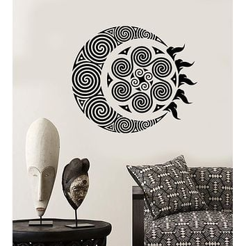 Vinyl Wall Decal Ethnic Style Decor Sun And Moon Illusion Geometric Stickers (2617ig)
