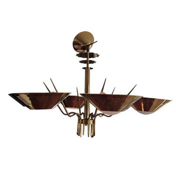 Pre-owned Mid-Century Modern 6-Arm Brass Chandelier