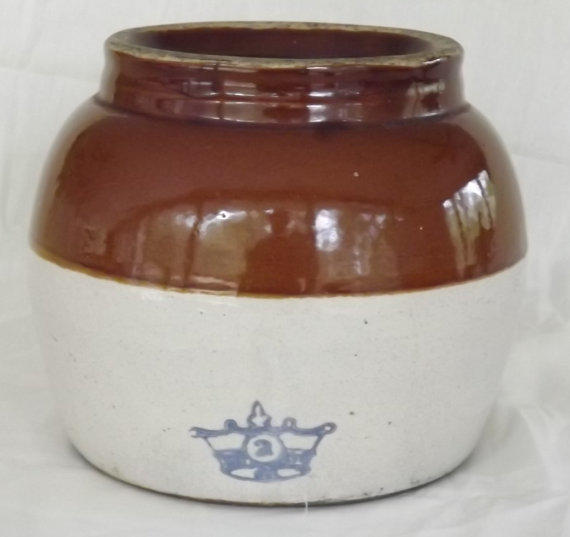 Vintage Stoneware Crock Pot Jug Bean Pot From Gussiesattic On