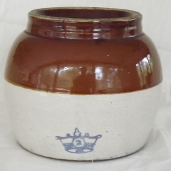 Vintage Stoneware Crock Pot Jug Bean Pot Blue Crown 2 QT