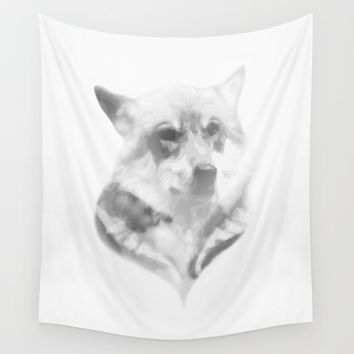 Wolf Minimalist Wall Tapestry by Brittany