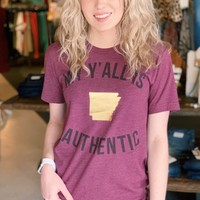 Arkansas: My Y'all is Authentic {Maroon}