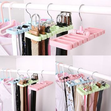 Closet Storage Rack Tie Belt Scarf Organizer Space Saver Rotating Hanger Holder
