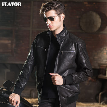 Men's real leather jacket pigskin Genuine Leather jacket men leather coat motorcycle jackets