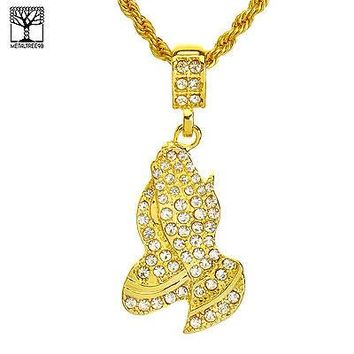 "Jewelry Kay style NEW Men's Iced Out Fashion Pray Hand Pendant & 22"" Rope Chain Set NA 8052 G"