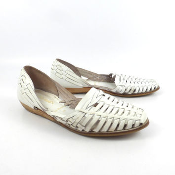 Leather Woven Sandals Vintage 1980s White 9 West Huaraches Women's size 7 M