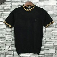 Fendi Summer Fashion New Letter Knit Short Sleeve Women Top T-shirt Black