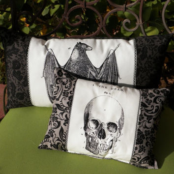 Gothic Home Decor Bat and Skull Black Damask Pillow Set of Two