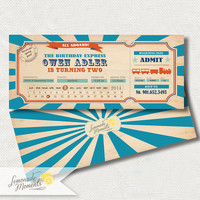 Train invitation - Train ticket birthday party invitation - Train party invite - DIY printable invitation