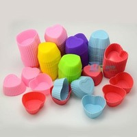 10Pcs Heart Shape Silicone Cup Cake Muffin Chocolate Cupcake Baking Cup Mold 2'' = 5658100097