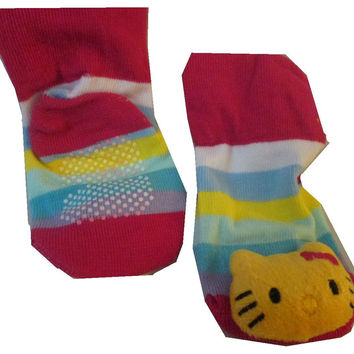 Hello Kitty 3D with Rainbow Stripe Sock For Infant / Baby Boy or Girl , Non Skid