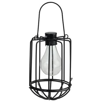 "6.75"" Black Cylindrical Solar Powered LED Outdoor Patio Metal Lantern"