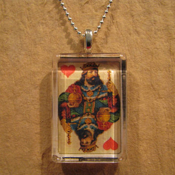 """Antique Playing Card King of Hearts Rectangle Glass Pendant with 24"""" Ball Chain Necklace"""