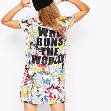 Eleven Paris Exclusive to ASOS T-Shirt Dress in Disney Princess Print with Slogan Back